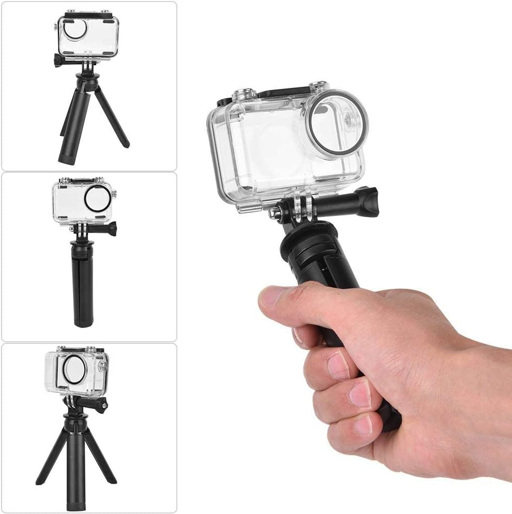 Portable Mini Desktop Tripod /& 40m Deep Circular Waterproof Shell Housing Case for OSMO Action for Travel Vbestlife Action Camera Waterproof Case+Metal Mini Tripod Diving