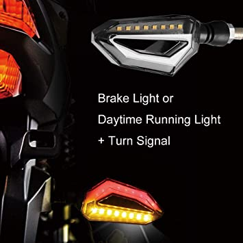 DRL White Front, Square Evermotor Universal Motorcycle 3-wire LED Blinker 1 Pair with White DRL and Red Brake Light
