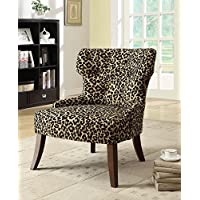 ACME Drogo Cream Fabric and Walnut Side Chair Set of 2
