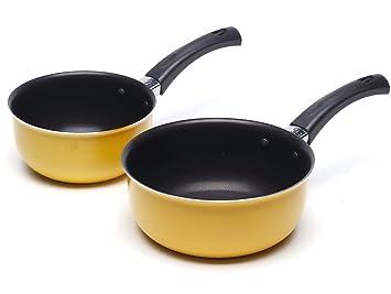 Juego de cacerolas pequeñas antiadherentes para cocinar sopa de leche - 12 y 14 cm Set de iniciación: Amazon.es: Hogar