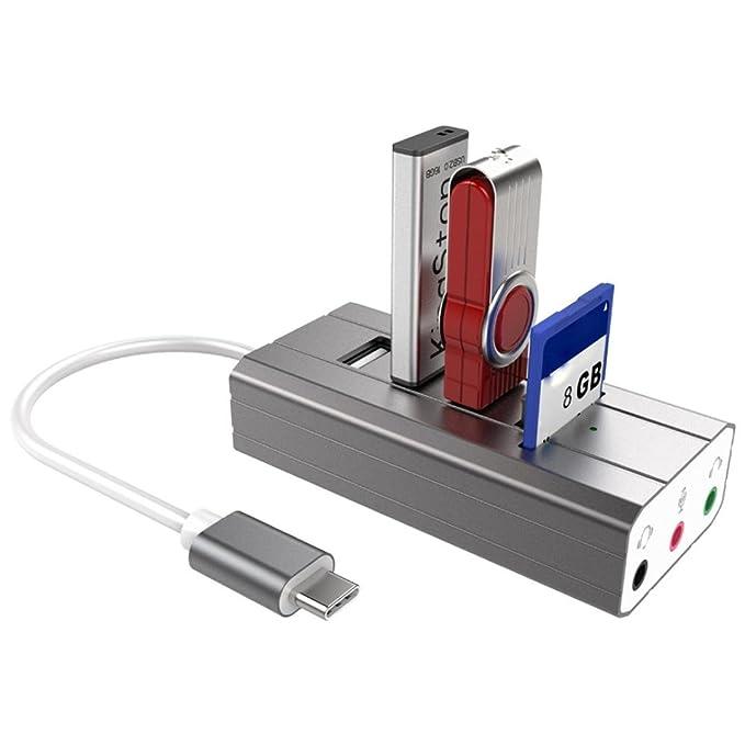 Leey adaptador Type-C de salida audio5.1 USB + tarjeta de sonido ...