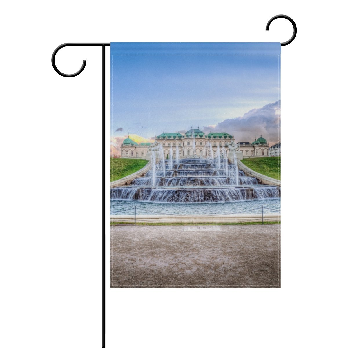 Garden Flags Calm Clouds Fountain 20'' X 48'' for Indoor & Outdoor Decoration Polyester Yard Flag