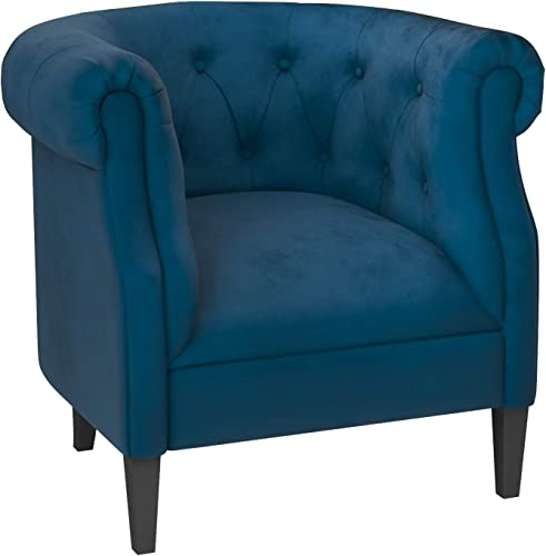 Amazon Brand Ravenna Home Westcott Curved Tufted Rolled Arm Accent Chair, 34 W, Blue