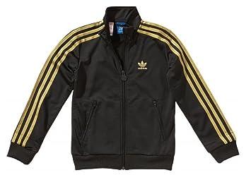 Adidas J Firebird TT Kinder Jacke black-metallic gold - 116  Amazon ... 55e6786e420