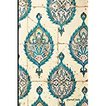Journal Daily: Blue Gold paisley flower pattern ,Lined Blank Journal Book, 6 x 9, 200 Pages