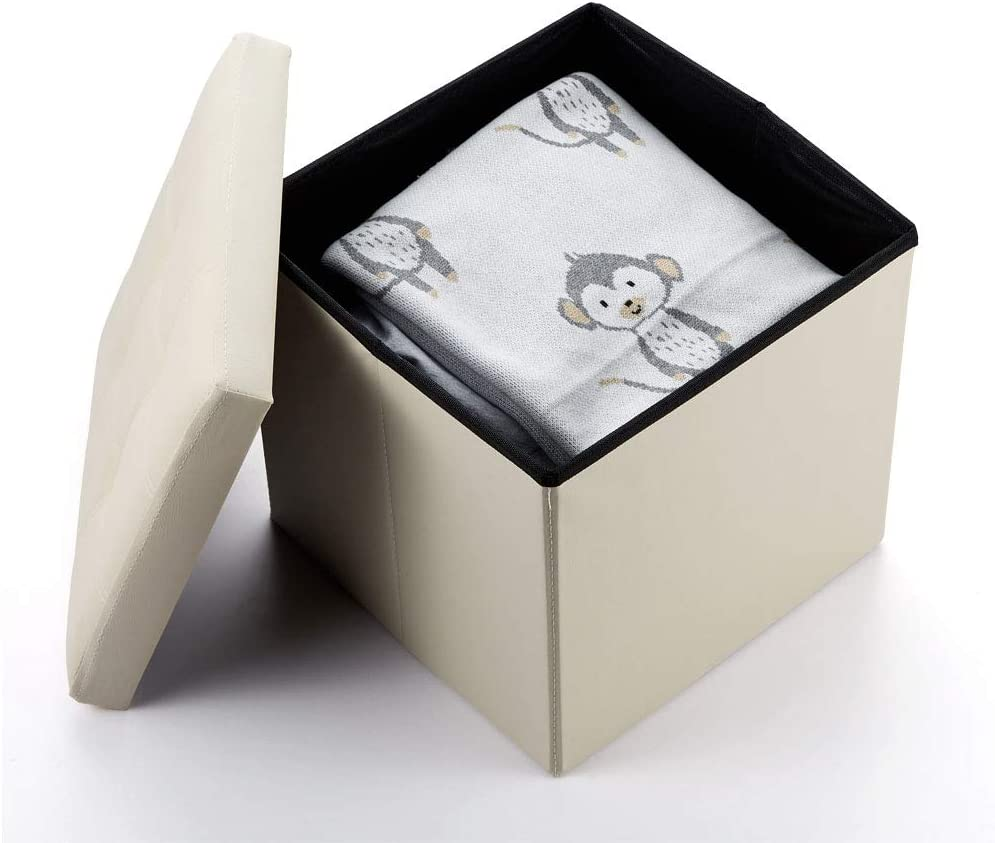 Soontrans Ba/úl Puff Taburete Almacenaje Plegable Caja Asiento Banqueta de Almacenamiento 76 x 38 x 38 cm m/áxima de 300 kg Marr/ón