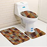 zen chic quilt patterns - Keshia Dwete three-piece toilet seat pad customGeometric Grunge Checkered and Striped Quilt Pattern Mottled Digital New Design Caramel Orange