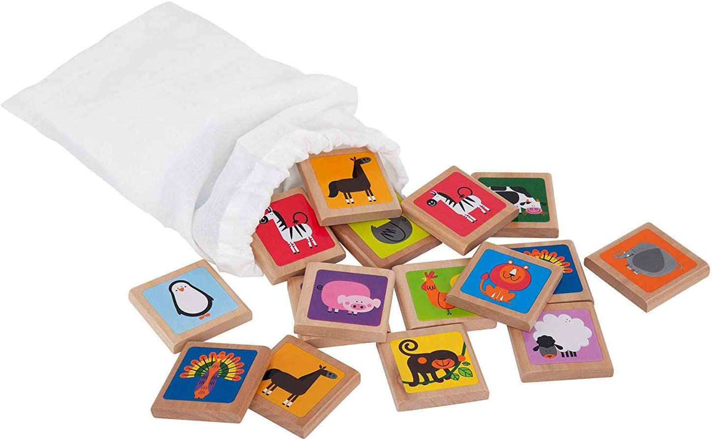 Wooden Memory Game Birthday Gift for Toddler Animals Matching Game Baptism Gift Montessori Game Wooden Puzzle for Kid Toddlers Game with Box