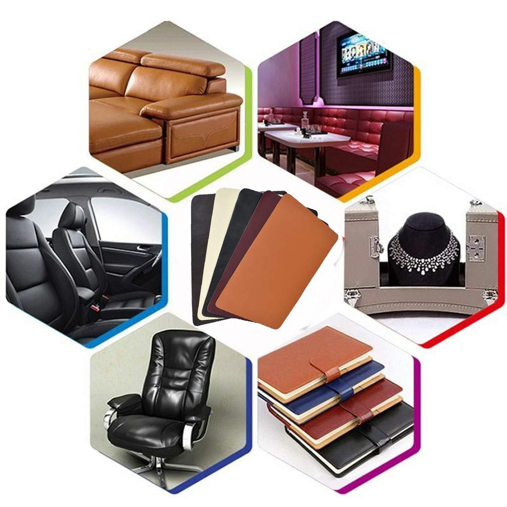 Handbag Booties Shoes Couch Car Seat Black Jacket 3.9 x 7.9 Adhesive Leather Tape Patches Sheets First Aid Fabric Adhesives Furniture Purse FunDiscount Leather Repair Patch for Sofa
