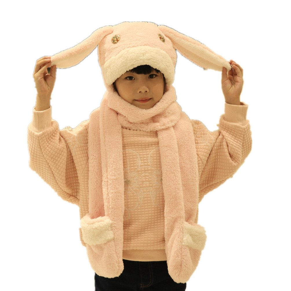 Novelty Kids Soft Plush Animal Winter Hat With Mitten Paws Ear Muffs LL-Partner