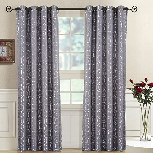 Royal Bedding Tuscany Gray Panels, Top Grommet Abstract Jacquard Textured Window Curtain Panel, Set of 2 Panels, 52×108 Inches Each