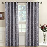 Tuscany Gray Top Grommet Abstract Jacquard Textured Window Curtain Panel, Set of 2 Panels, 104×108 Inches Pair, by Royal Hotel
