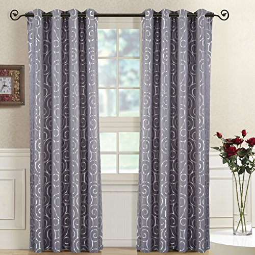 (Royal Bedding Tuscany Gray Panels, Top Grommet Abstract Jacquard Textured Window Curtain Panel, Set of 2 Panels, 52x63 Inches Each)