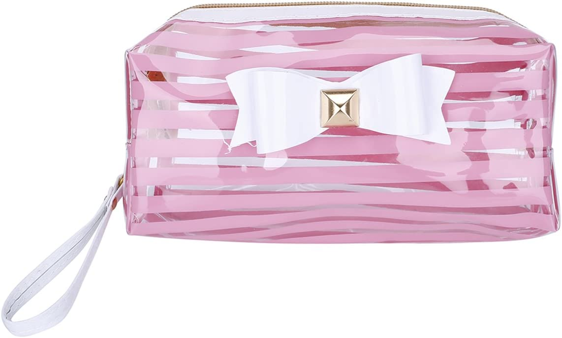 TININNA Clear Stripe Bowknot Pencil Case Pen Bag Pencil Holder Cosmetic Makeup Bag Stationery Pouch Bag for Boys Girls School Pink