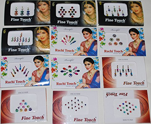 12-pack-indian-art-bollywood-reuseable-bindi-self-adhesive-body-stickers-tattoo