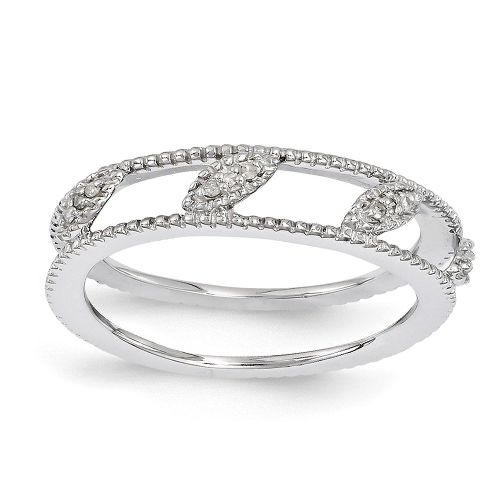 Roy Rose Jewelry Sterling Silver Stackable Expressions Rhodium-plated Diamond Jacket Ring Size 9