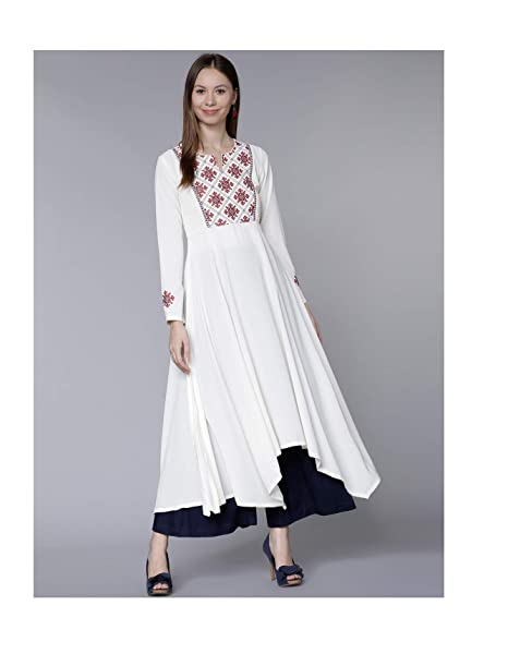 0fb9940a313a Amazon.com  Hiral Designer Mall 3 4 Sleeves Women Off-White Embroidered  A-Line Kurta Gown Dress for Women (S)  Clothing