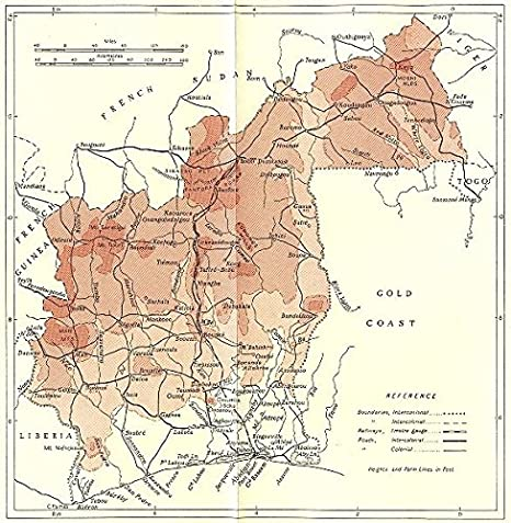 Amazon.com: IVORY COAST. Cote Ivoire - 1944 - old map - antique map ...
