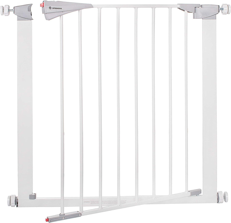color blanco color blanco 74 /– 84 cm anchura ajustable de 77 a 84 cm SPRINGOS Barrera de seguridad para puertas de beb/é