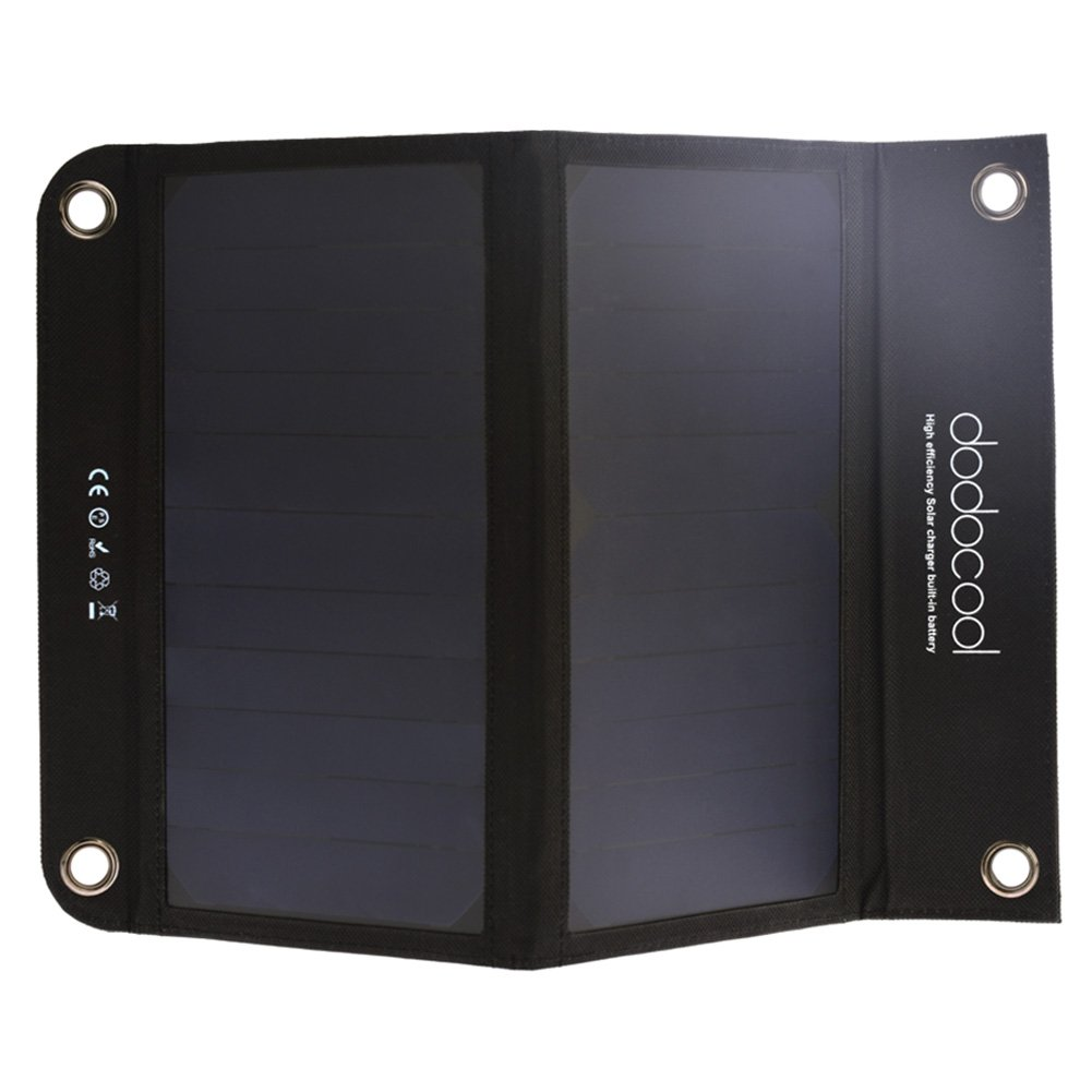 dodocool Solar Charger Foldable with 10000 mAh Dual USB Port Power Bank Battery Built with SunPower Solar Panels