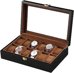 Caja De Reloj De Madera De 12 bits Caja De Regalo Caja De Colección De Joyas Caja De Exhibición: Amazon.es: Relojes
