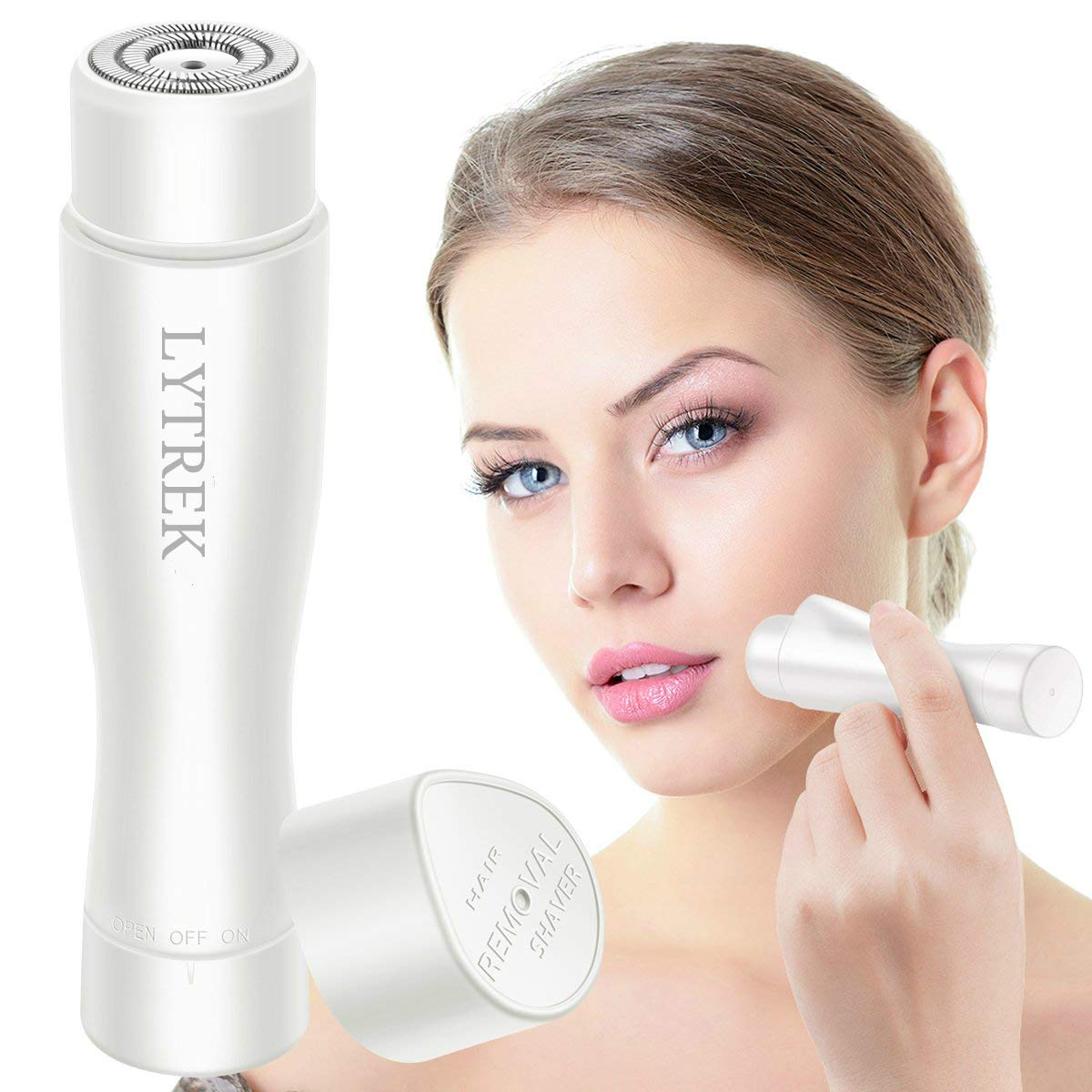 Facial Hair Removal for Women,Lytrek Electric Painless Hair Remover Trimmer for Face,Armpit,Chin and Full Body,Waterproof with LED Light,White