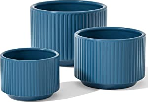 LE TAUCI Plant Pots, Large Planter Ceramic, 9.3+8+6.7 inch Flower Pot for Plants with Drainage Holes, Garden Planters Outdoor, Indoor House Plants, Cylinder Planter for Home, Set of 3, Navy