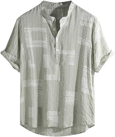 Hombre Cuello En V Camisetas Manga Corta de algodón y Lino Estampado en Color Botón En Slim para Camisa Moda Blusa Superior Retro Henley Camisas 3 Colores M-4XL: Amazon.es: Ropa y accesorios