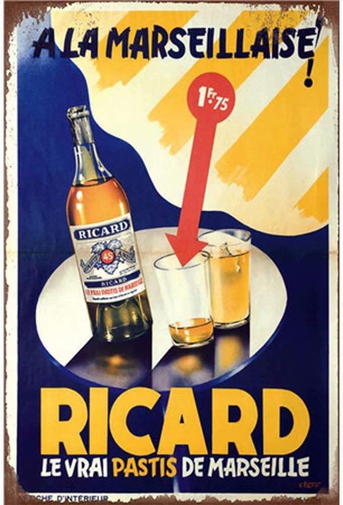 HALEY GAINES Ricard Beer M/étal Mur Affiche Vintage /Étain Mural Signe D/écorative M/étallique Panneau R/étro Plaque pour Bar Caf/és Cuisines Maison Garages 20/×30cm