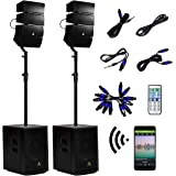 AKUSTIK 12 Inch 4000Watt Powered PA Speaker System Combo Set, DJ Array Speaker Set with Remote Control, Two Subwoofers & 8 X
