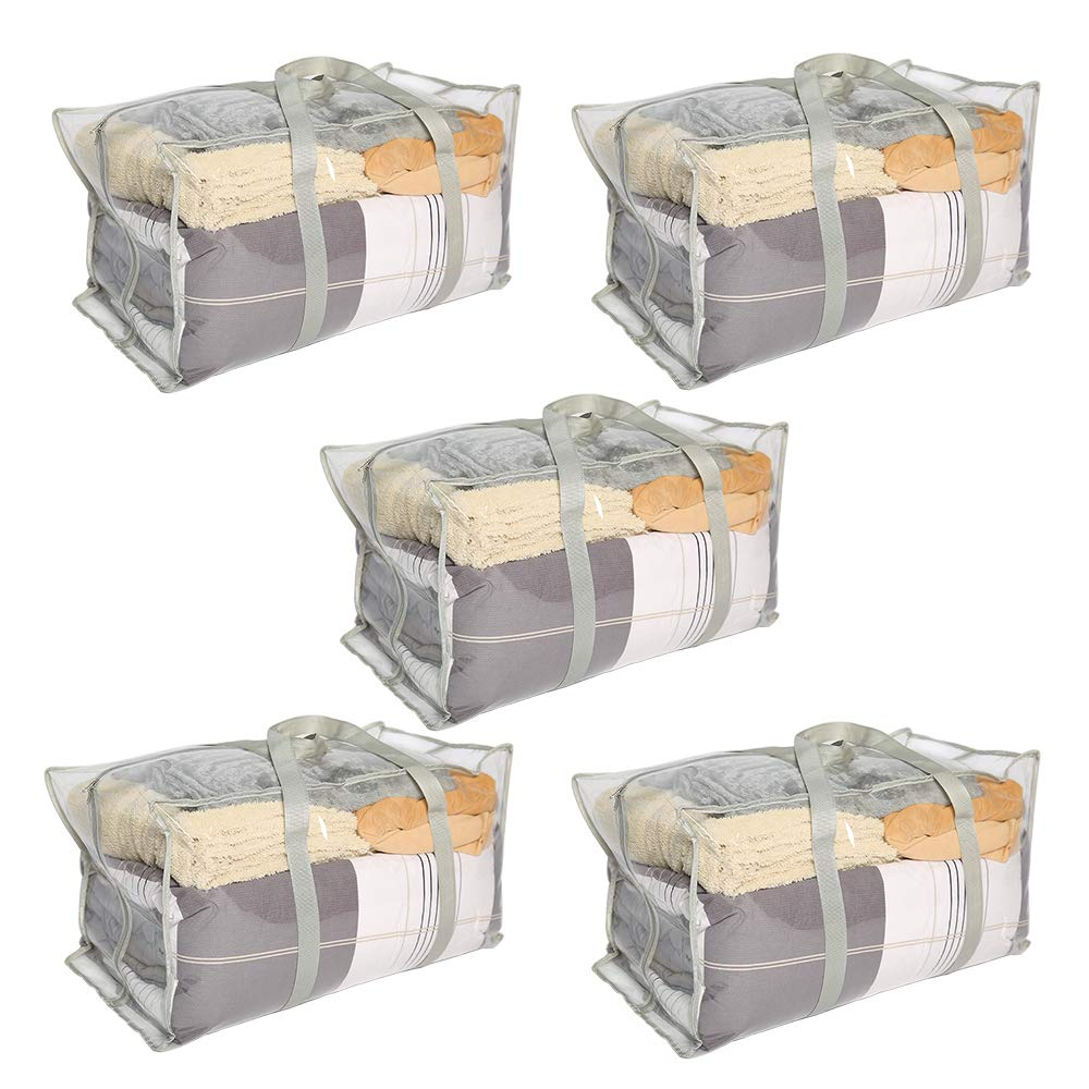 ATBAY Moving Tote Bags Extra Large Reusable Closet Organization Storage Bags with Zipper and Strong Handles for Clothes/Shoes/Blanket/Pillow,Transparent 5pack by ATBAY