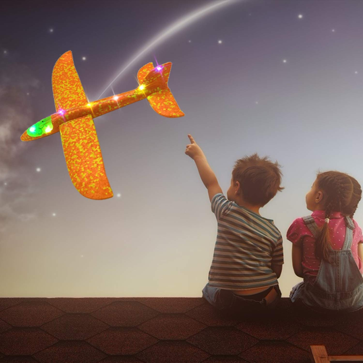 4 Pack Foam Airplane Glider Throwing Plane, 2P 14 Inch LED Light Up Flying Aircraft Jet+2P LED Light Up Toy Parachute Free Throwing Outdoor Sports Flying Toys Gift for Kids Toddlers Teens by Aufind (Image #7)