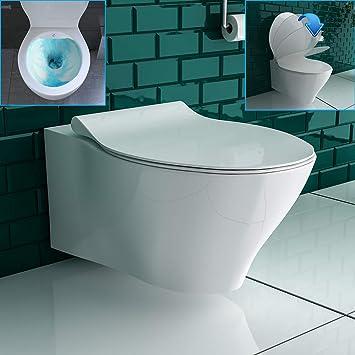 Bevorzugt Spülrandloses WC mit WC-Sitz Hänge Toilette ohne Spülrand: Amazon KF46