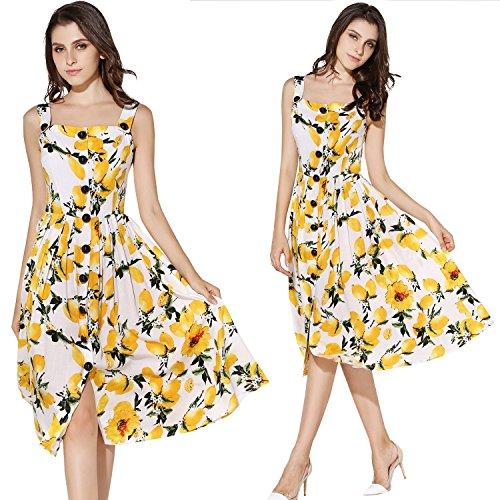 KIMILILY Women's Summer Square Neckline Lemon Printed Swing Dresses Sundresses(L) ¡ (Yellow Casual Dress)