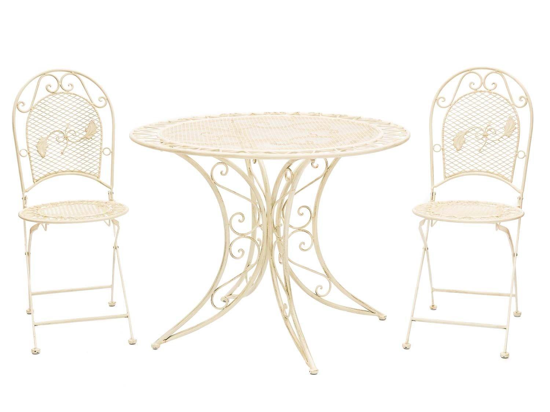 aubaho Gartenmöbel Garnitur Tisch 100cm und 2 Stühle Eisen Antikstil Creme weiß