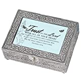 Trust the Lord With Butterfly Silver Stamped Metal Jewelry Music Box Plays Tune How Great Thou Art