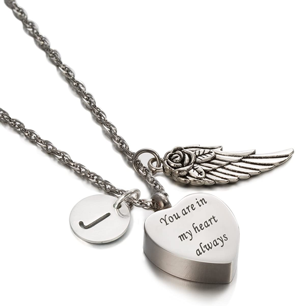 ZARABE Cremation Urn Jewelry Engraved In My Heart Always Heart Ash Keepsake Memorial Initial Necklace