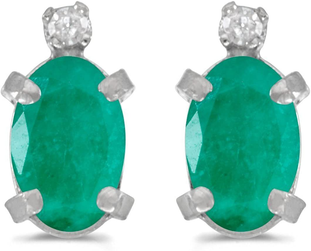 FB Jewels Solid 14k White Gold Studs Oval Gemstone and Diamond Earrings