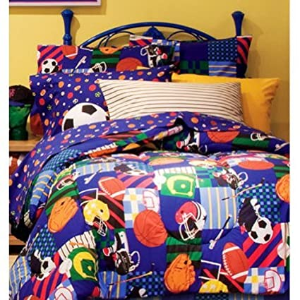 Sports Baseball Football Soccer Blue Boys Kids Twin Comforter 6 Piece Bed  Bag Set
