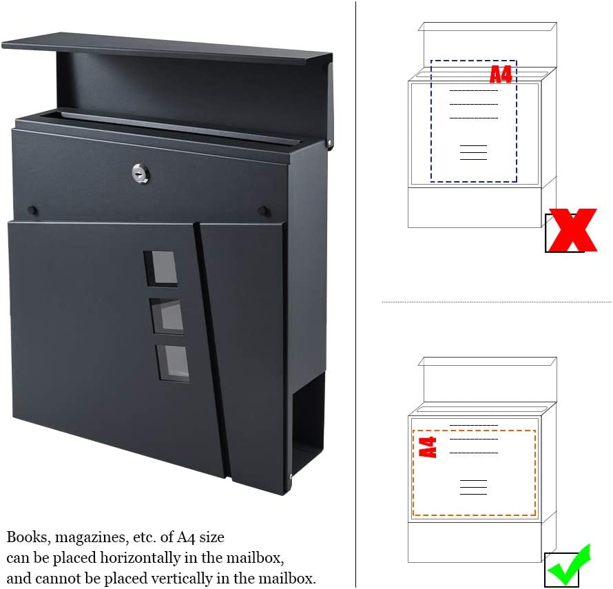 2 Schl/üssel BONADE Briefkasten Anthrazit aus Edelstahl Mailbox mit Zeitungsfach Sichtfenster A4 Einwurf-Format Wandbriefkasten inkl 36,8cm x 36,8cm x 10cm