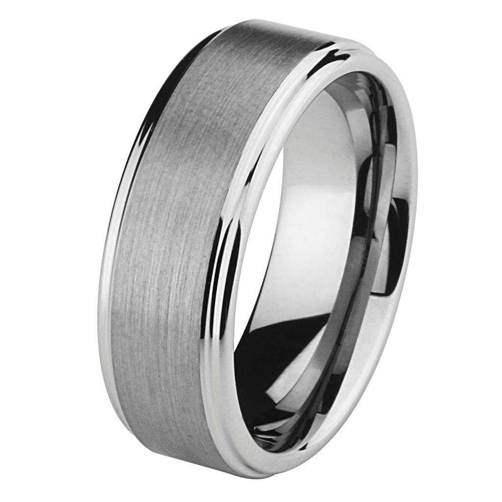 LASER ENGRAVING SERVICE 8MM Wellingsale LUXE Series Comfort Fit Wedding Band Ring with Raised Center and Smooth Rounded Edges in Brushed and Polished Finish for Men and Women - Size 10.5