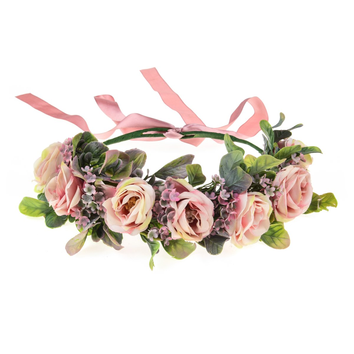 Love Sweety Succulents Flower Crown Greenery Rose Floral Headpiece Grass Bridal Boho Headband (Pink)