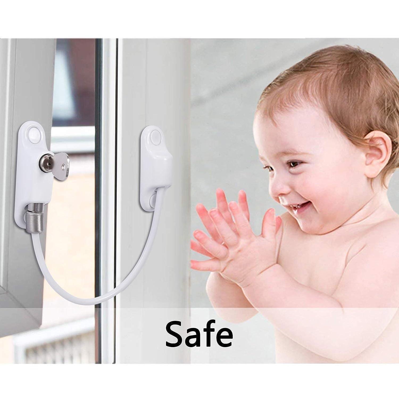 Verrouillage des Portes et des Fen/êtres Limiteur de Fen/être Verrouillage de S/écurit/é avec Mode de Verrouillage par Cl/és et Ouverture par la Pouss/ée pour Enfants B/éb/é S/écurit/é 2pcs