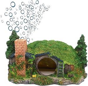 Ulifery Aquarium Decoration Hobbit Hole Fairy House for Fish Hiding Reptile Shelter with Bubbler