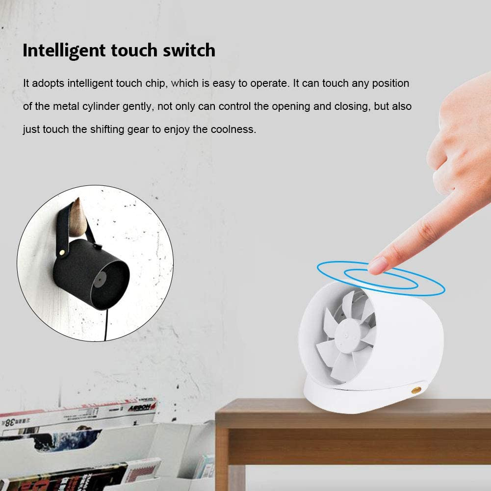 Garosa Portable Smart Fan Mini Quiet Smart Touch Fan Desk Table USB Charging Cooling Fans Lightweight USB Powered Cooler with Double Leaf White