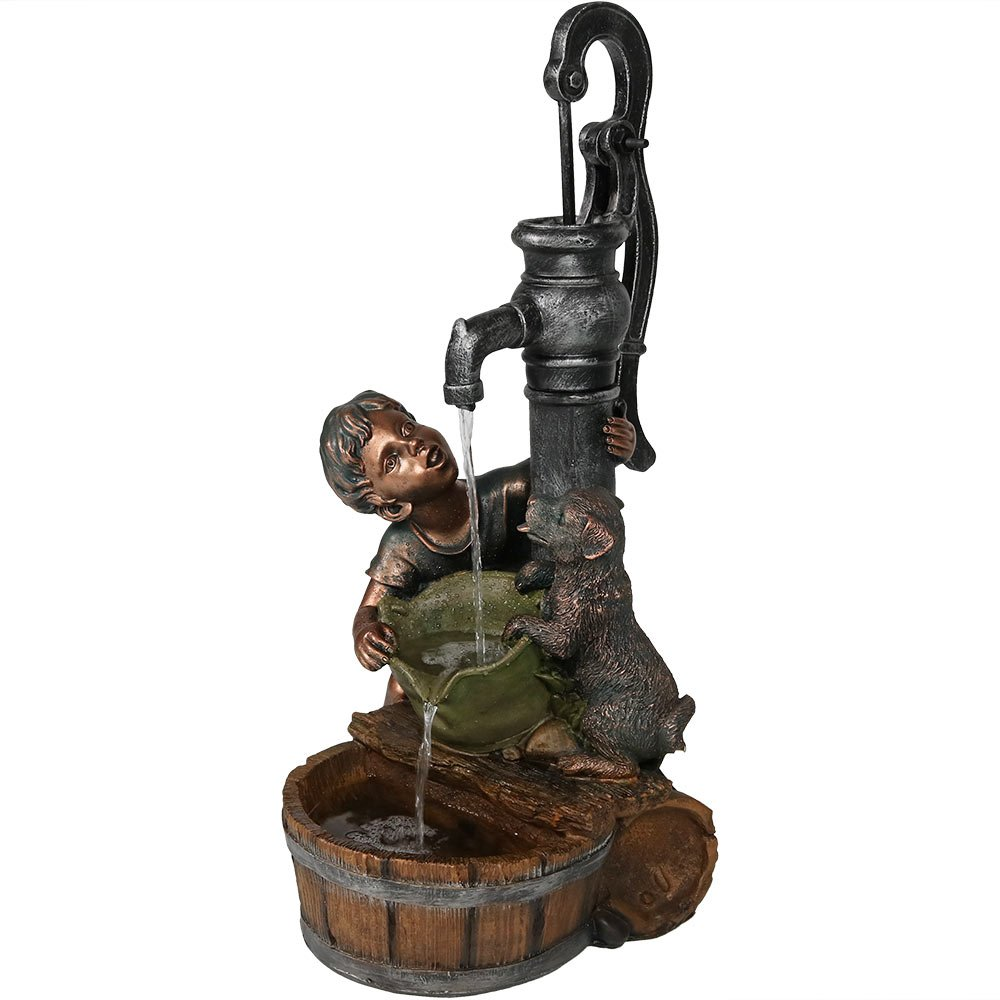 Sunnydaze Boy and Dog Drinking from Water Pump Outdoor Fountain, 30 Inch Tall, Includes Electric Pump