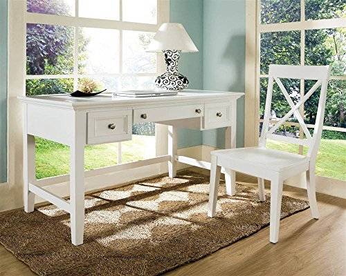 Oslo Writing Desk Set w X-Back Chair in White by Steve Silver