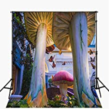 Fairy Tale Photography Backdrop Newborn 5x7 High Mushroom Woodland Scape Background for Wedding Photo Booth Seamless