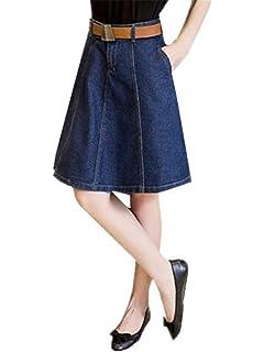 91ccca12fdc2 BESTHOO Jupe En Denim Femme Jupe Court Genou A-Line Jupe Basique Universite Jupe  Avec