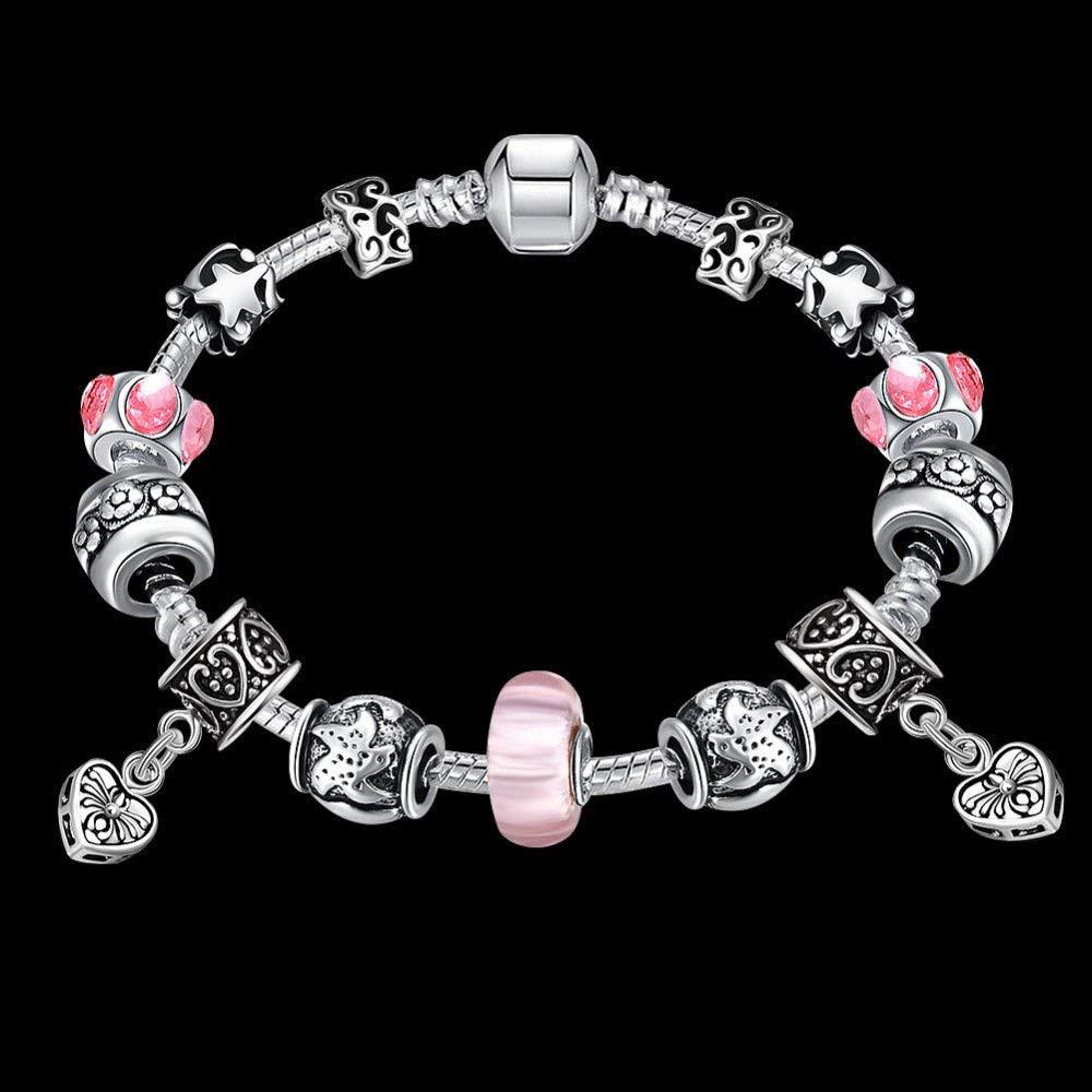 Women Elegant European and American Handmade Glass Beads DIY Bracelet Fashion Crystal Alloy Jewelry